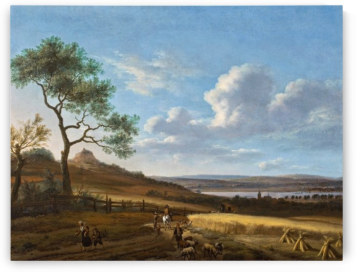 Panoramic summer landscape with a horseman and a post wagon by Adriaen van de Velde