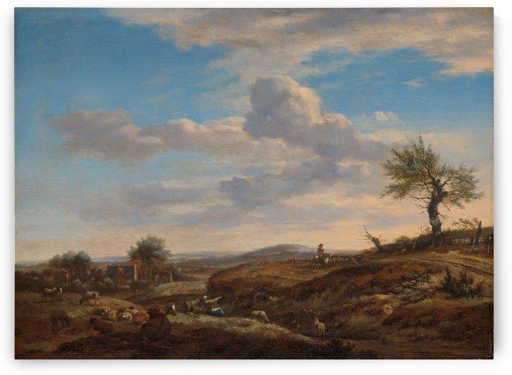 Hilly landscape with a high road by Adriaen van de Velde