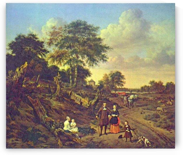 A village scene by Adriaen van de Velde