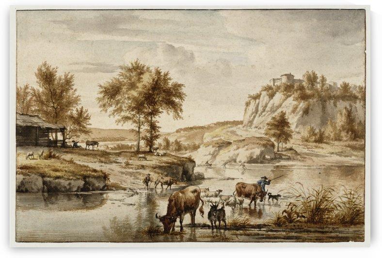 Landscape with cattle fording a river by Adriaen van de Velde