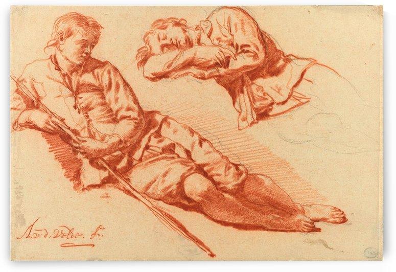 Two studies of a reclining shepherd, 1666-1671 by Adriaen van de Velde