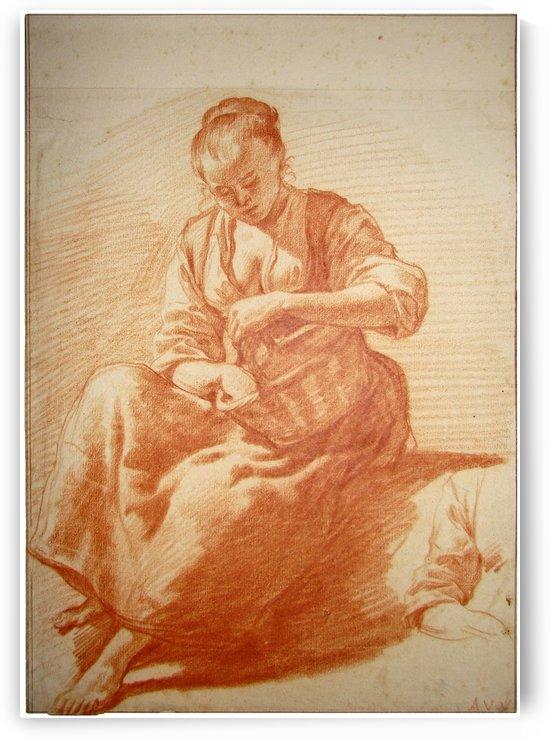 Seated woman with basket by Adriaen van de Velde