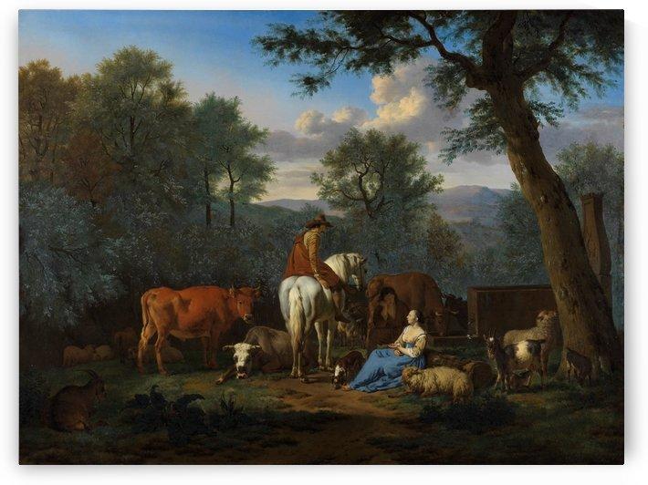 Landscape with cattle and figures 1664 by Adriaen van de Velde