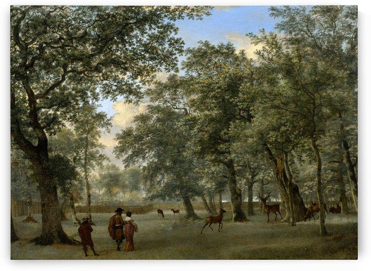 Figures in a deer park by Adriaen van de Velde