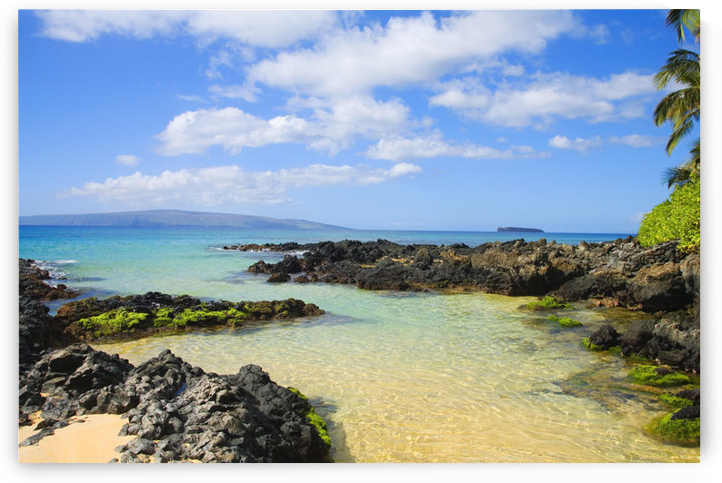 USA, Hawaii Islands, Maui, Shallow Ocean Water Surrounded By Rocks And Sand; Makena, Maui Wai Or Secret Beach by PacificStock