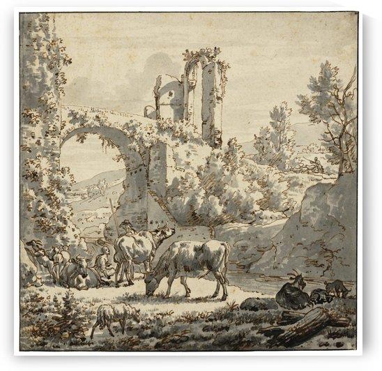 Herdsman and herdswoman with livestock by Adriaen van de Velde