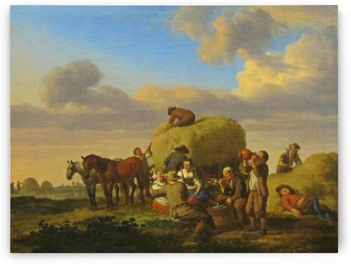 A group of peasants working by Adriaen van de Velde