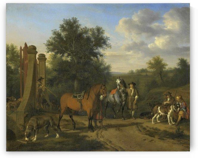 The hunting party by Adriaen van de Velde