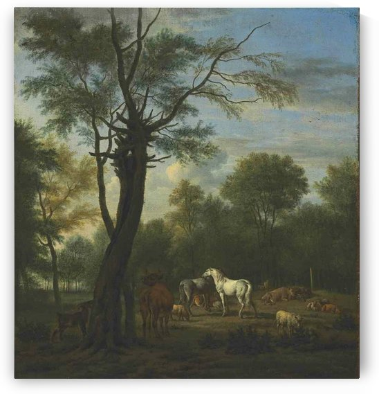 Horses cows sheep and goats in a woodland by Adriaen van de Velde