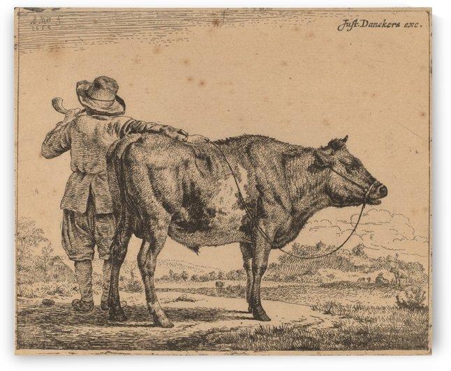 A young herdsman with a bull 1659 by Adriaen van de Velde