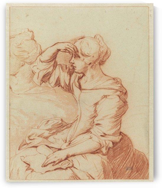 Portrait of a lady holding her head by Adriaen van de Velde