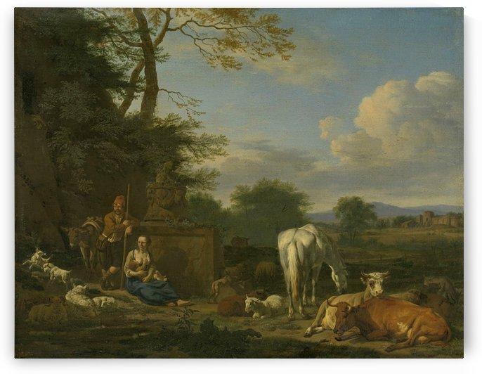 Arcadian landscape with resting shepherds and cattle by Adriaen van de Velde