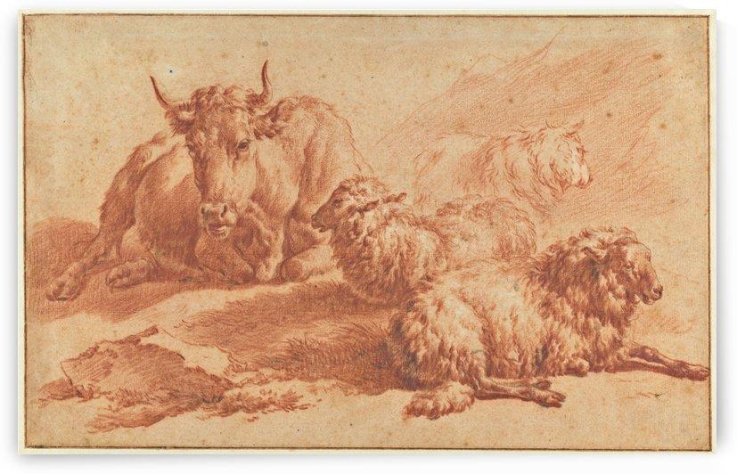 A lying cow and three sheep by Adriaen van de Velde
