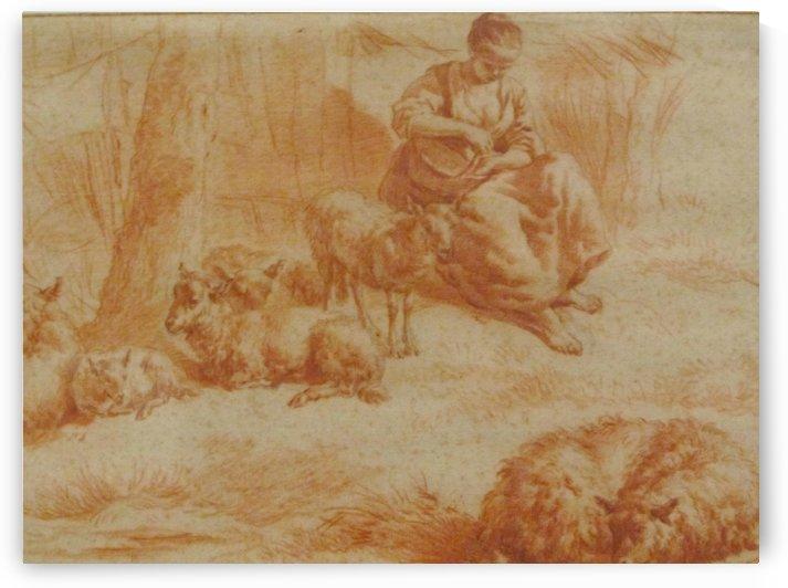 A sheppardess by Adriaen van de Velde