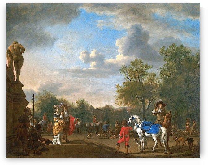 Departure by the hunt by Adriaen van de Velde