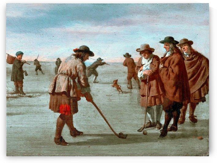 Colfspelers op het ijs bij Haarlem by Adriaen van de Velde