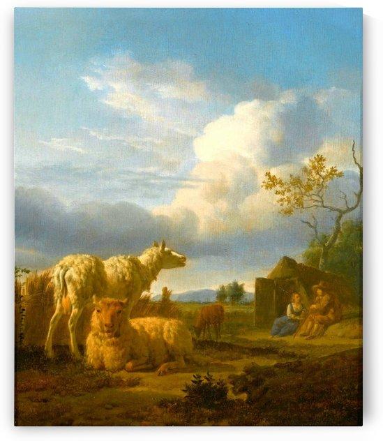 Pastoral scene in the sunset by Adriaen van de Velde