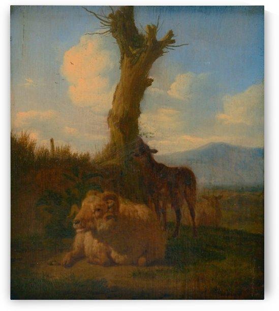 Sheeps near a lonely tree by Adriaen van de Velde