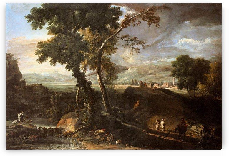 Landscape with river and figures by Adriaen van de Velde