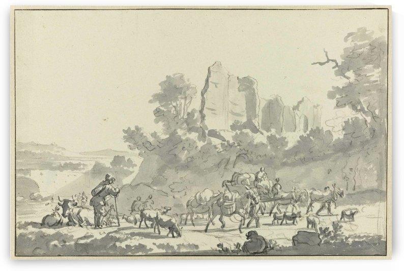 Schetch of the village life by Adriaen van de Velde