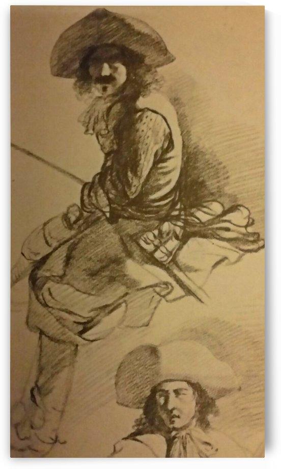 Study of a cavalier horseback by Adriaen van de Velde