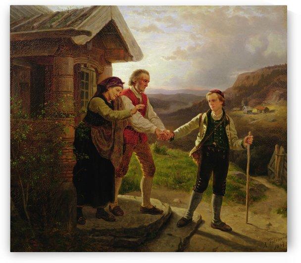 Den yngste sonnen farvel by Adolph Tidemand