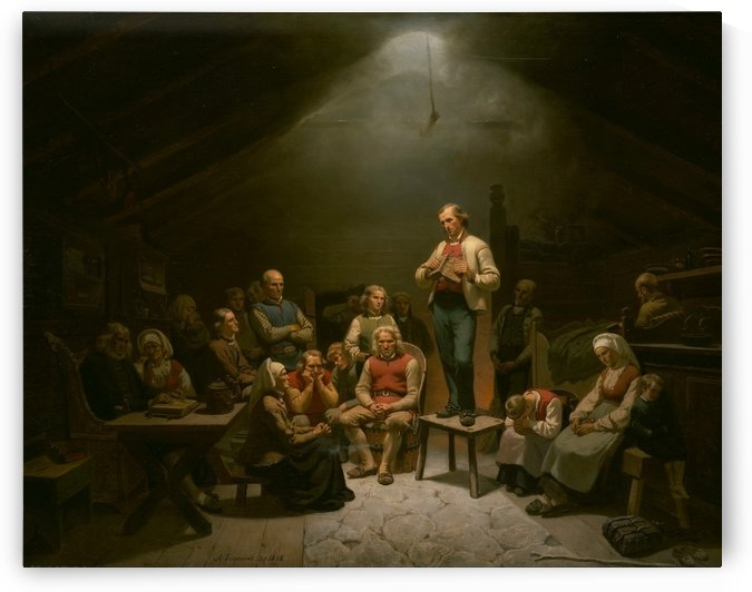 Preaching to a group of people by Adolph Tidemand