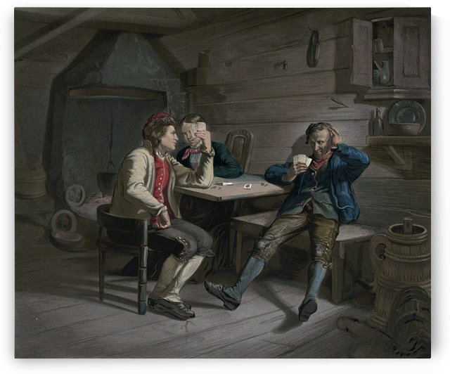 A game of cards by Adolph Tidemand
