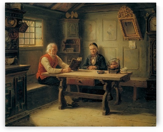 Reading time by Adolph Tidemand