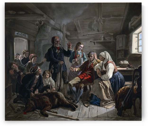 Taking care of the wounded by Adolph Tidemand