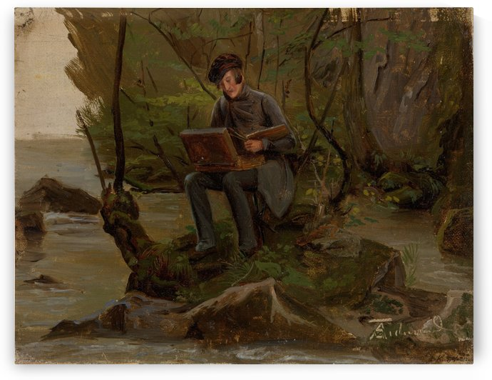 A painter and his box by Adolph Tidemand