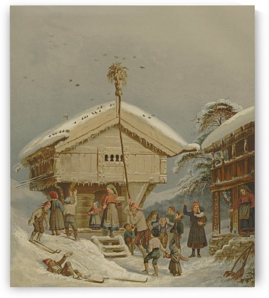 Children playing in the snow by Adolph Tidemand