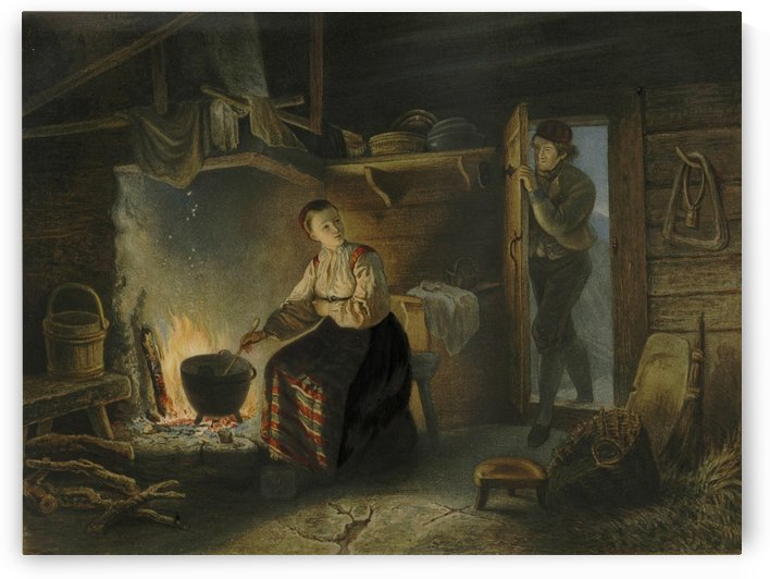 Returning home from work by Adolph Tidemand
