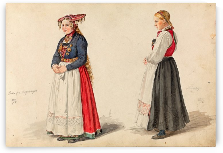 Norvegian brides by Adolph Tidemand