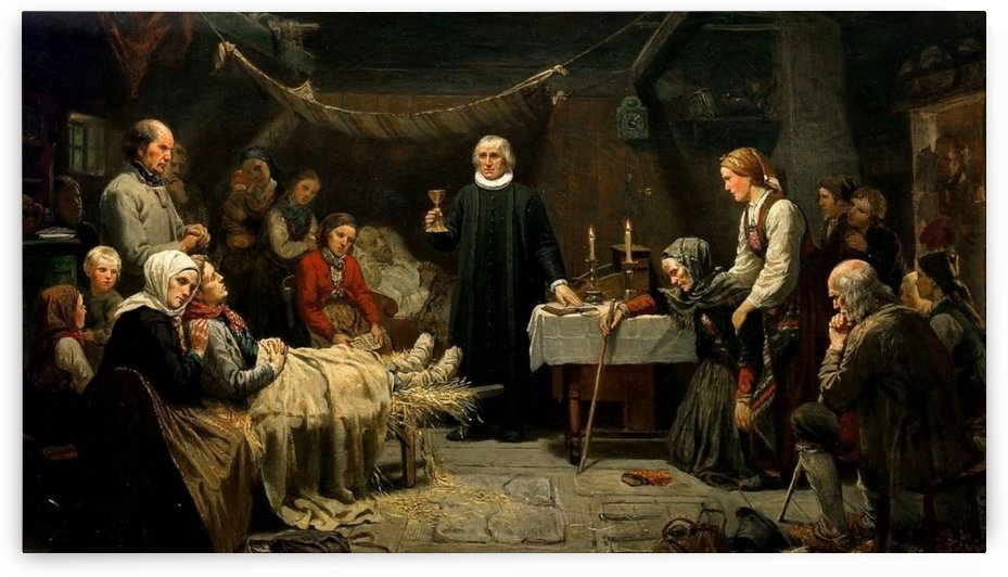 The familly round the death bed of their ancestor by Adolph Tidemand