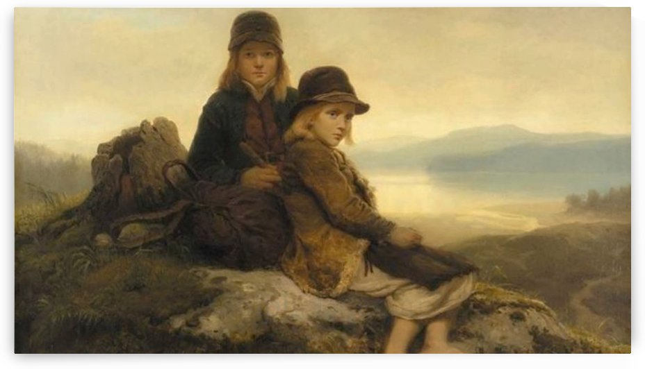 Two children climbing the mountain by Adolph Tidemand