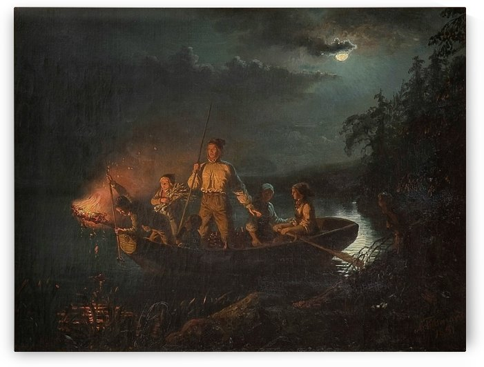 Fishing with a harpoon by Adolph Tidemand