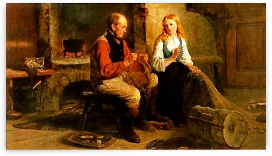 A couple working toghether by Adolph Tidemand