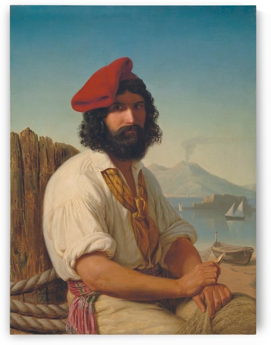 Portrait of a man with a red hat by Adolph Tidemand