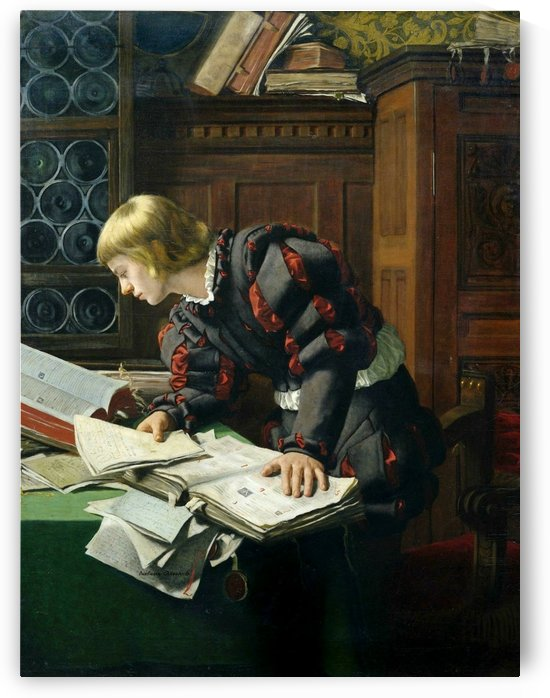A young man researching some documents by Adolph Tidemand
