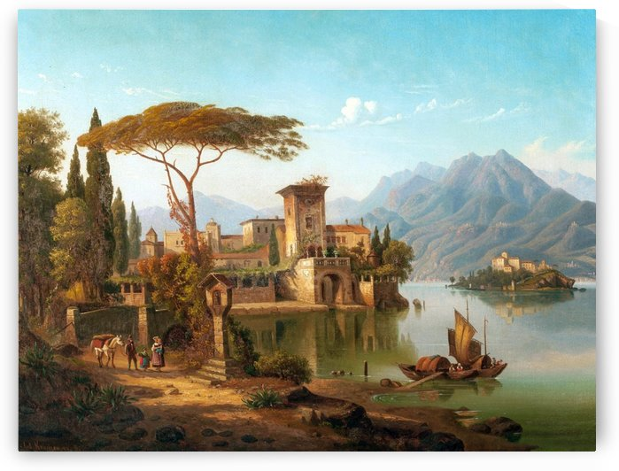 Landscape of a castle, a village and a mountain by August Hermann Kruger