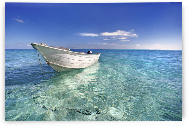 French Polynesia, Tahiti, Bora Bora, White Boat Floating On Turquoise Water. by PacificStock