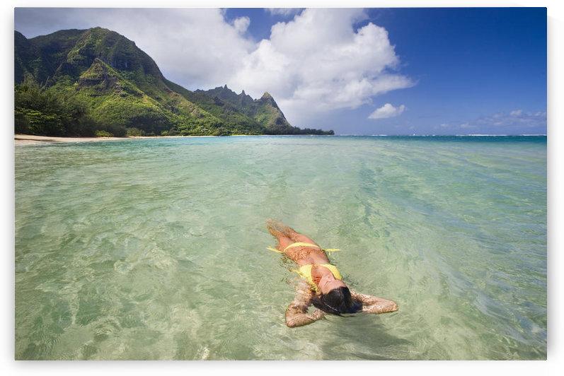Hawaii, Kauai,Tunnels Beach, Woman Floating In The Ocean. by PacificStock