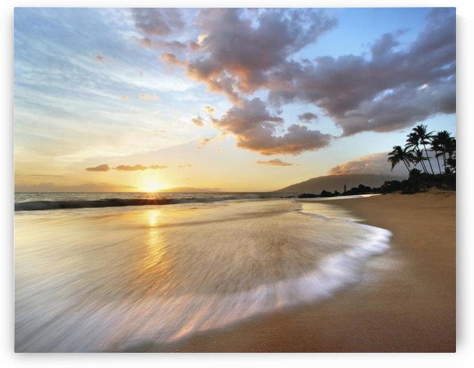 Hawaii, Maui, Makena, Secret Beach At Sunset. by PacificStock