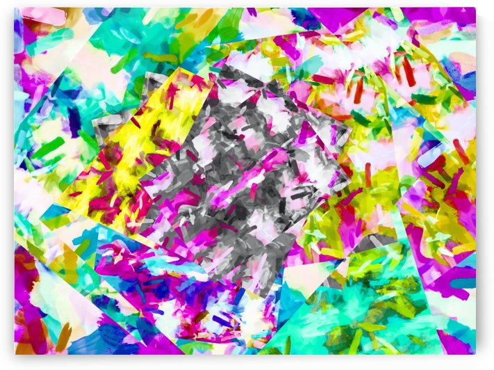 psychedelic splash painting abstract in pink blue yellow green purple by TimmyLA