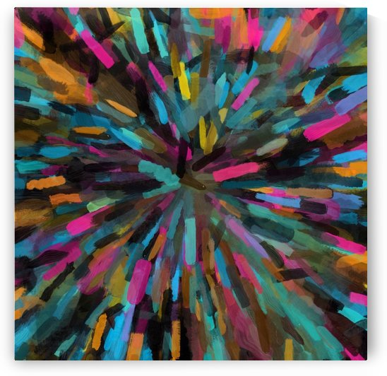 splash painting abstract in pink blue orange yellow by TimmyLA