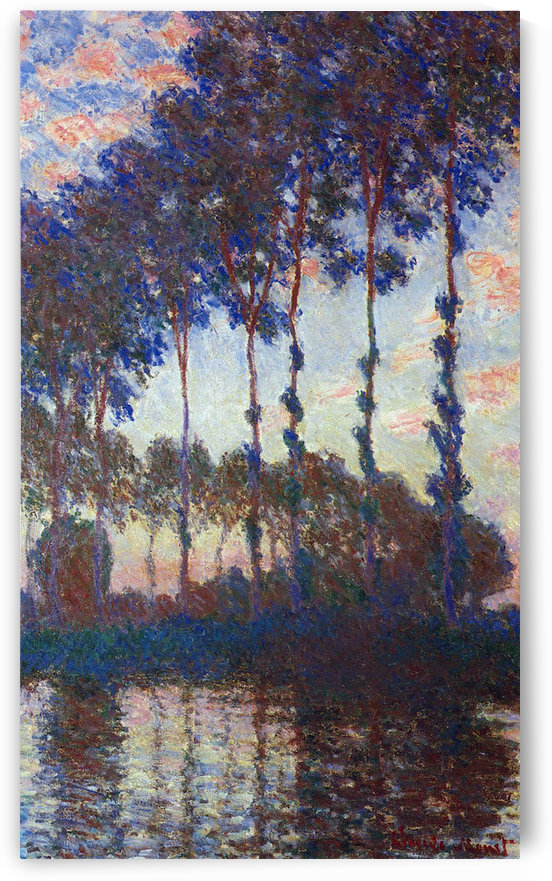 Poplars, sunset by Monet by Monet