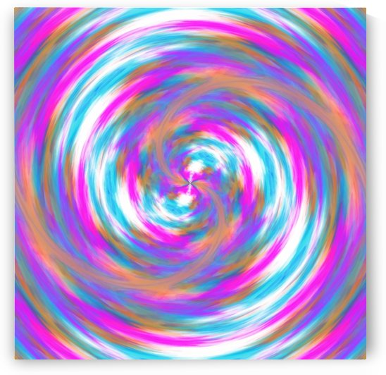psychedelic circle pattern painting abstract in pink orange blue by TimmyLA