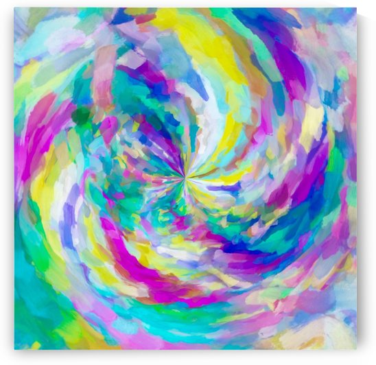 colorful splash painting abstract in pink green blue yellow by TimmyLA
