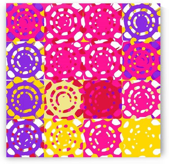 graffiti circle pattern abstract in pink yellow and purple by TimmyLA